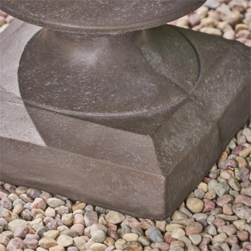 Noble House Simba Outdoor Roman Chalice Garden Urn Planter in Antique Gray Perspective: bottom