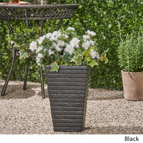 Noble House Jude Outdoor Tapered Channel Square Garden Urn Planter in Black Perspective: bottom