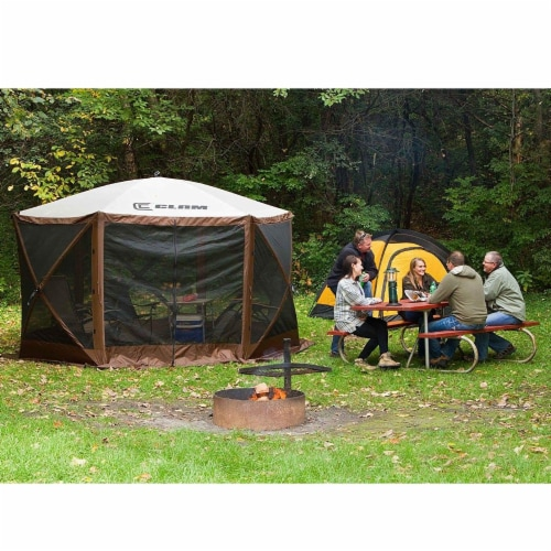 Clam Quick Set Escape Portable Camping Outdoor Gazebo Canopy, Brown/Tan (2 Pack) Perspective: bottom