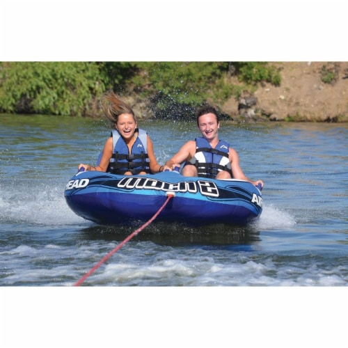 Airhead Mach 2 Inflatable 2 Rider Cockpit Lake Water Towable Tube, Blue (2 Pack) Perspective: bottom