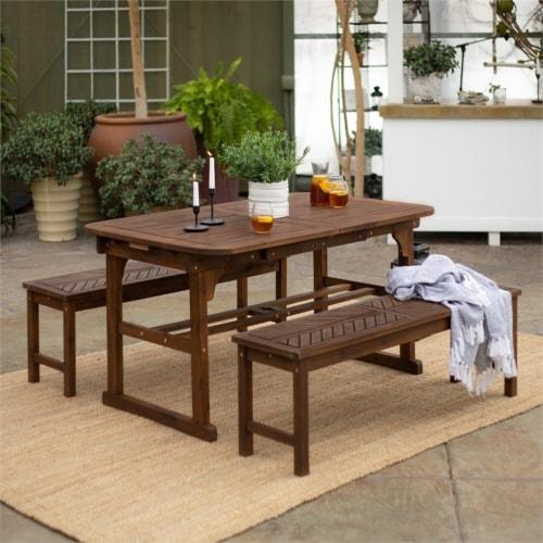 3-Piece Extendable Outdoor Patio Dining Set - Dark Brown Perspective: bottom
