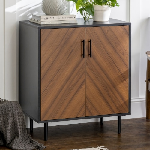 28  Modern Bookmatch Accent Cabinet - Solid Black Perspective: bottom