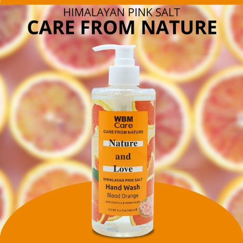 WBM Care Hand Soap, Love & Nature Soap with Blood Orange Extracts - Pack of 3/13.5 Oz Each Perspective: bottom