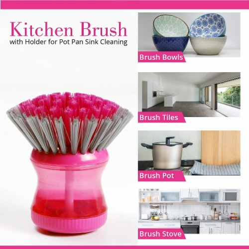 W Home Soap Dispensing Dish Brush, Multi-purpose, Safe for Non-Stick Cookware   Pack of 3 Perspective: bottom