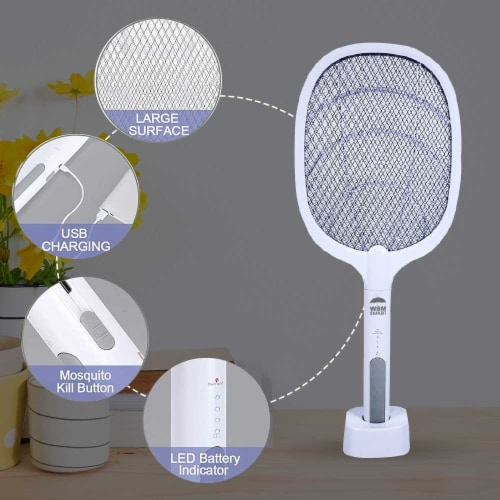 WBM Smart Bug Zapper, Electric Fly Swatter & Lamp, USB Rechargeable, 3-Layer Safety Mesh Perspective: bottom