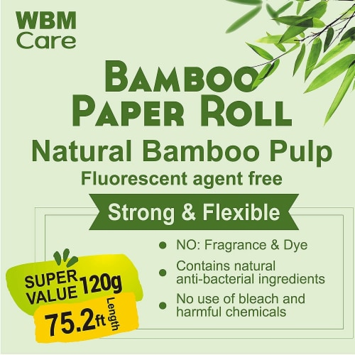 WBM Care Bamboo Toilet Paper, Strong & Flexible 3-Ply, 200 Sheets/Roll | 20 Rolls Perspective: bottom
