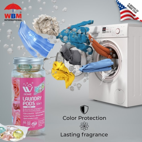W Home Laundry Pods, Hypoallergenic Natural Stain Remover, Fresh Rose   Pack 3 - 12 Pods Each Perspective: bottom
