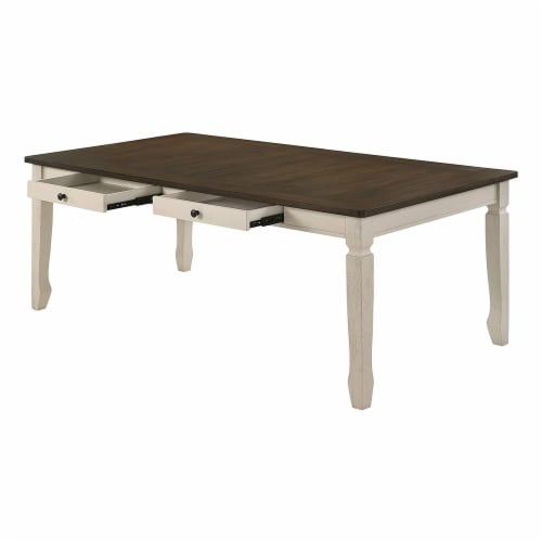 ACME Furniture Fedele Kitchen Dining Table with 2 Storage Drawers, Weathered Oak Perspective: bottom