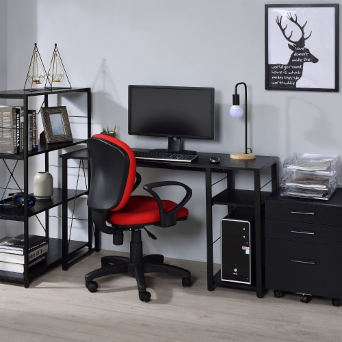 ACME Furniture 92769 Vadna Contemporary Metal Writing Desk with 2 Shelves, Black Perspective: bottom