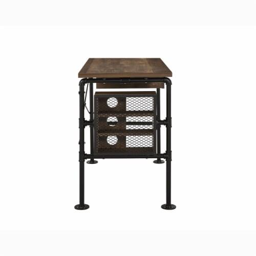 ACME Furniture 92595 Endang Industrial Metal Writing Desk with Drawer, Oak/Black Perspective: bottom
