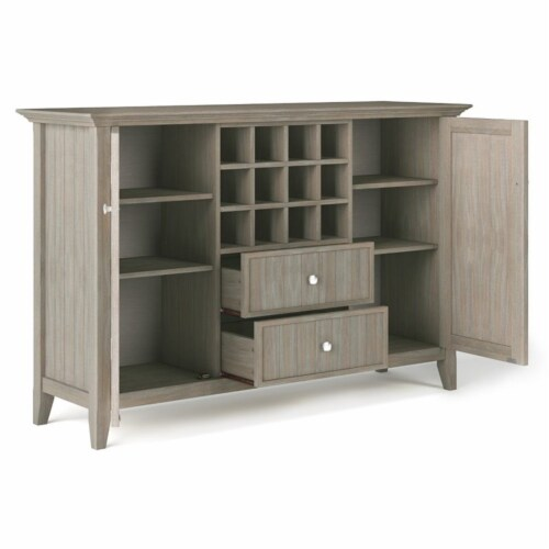 Simpli Home Bedford Wood 54  Transitional Sideboard Buffet and Wine Rack in Gray Perspective: bottom