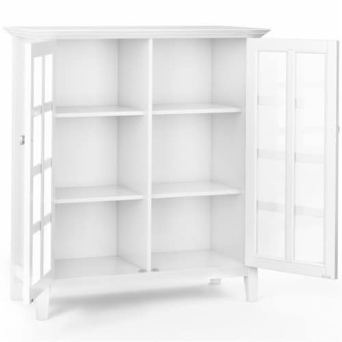 Simpli Home Acadian Solid Wood 39   Transitional Medium Storage Cabinet in White Perspective: bottom