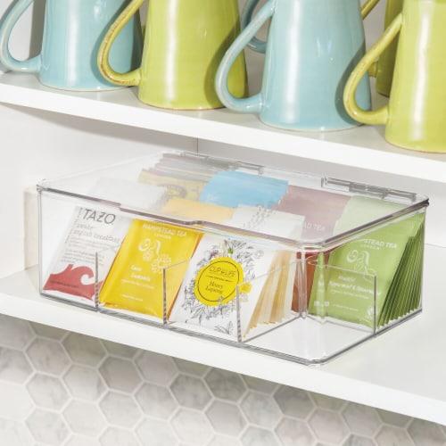 mDesign Stackable Plastic Tea Bag Organizer Kitchen Storage Box, 2 Pack Perspective: bottom