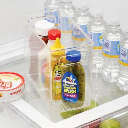 mDesign Tall Plastic Kitchen Food Storage Organizer Bin, Handles, 4 Pack Perspective: bottom