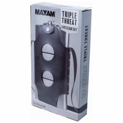 Maxam Three Flasks in One for a Fun Variety of Liquor Stainless Steel 3-24 Ounce Flasks Perspective: bottom