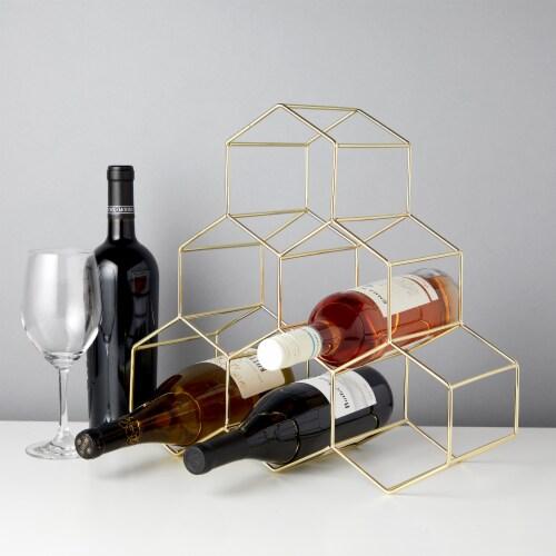 Gold Geo Counter Top Wine Rack by Viski® Perspective: bottom