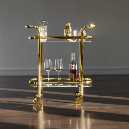 Viski 5891 Belmont Gold Bar Cart Perspective: bottom