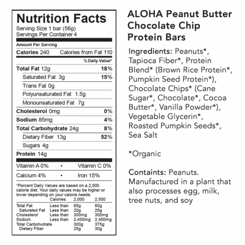ALOHA Organic Plant-Based Protein Bar Peanut Butter Chocolate Chip 4 Count Perspective: bottom