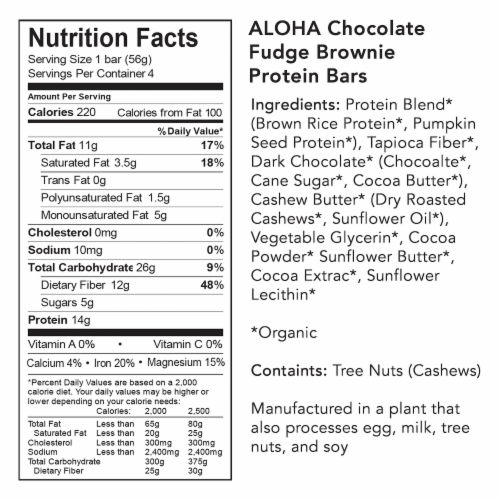 Aloha Organic Chocolate Fudge Brownie Protein Bars Perspective: bottom