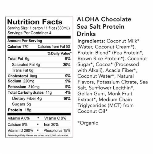 Aloha Organic Chocolate Sea Salt Plant-Based Protein Drinks Perspective: bottom