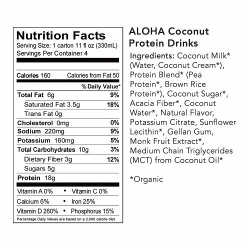 Aloha Organic Coconut Plant-Based Protein Drinks Perspective: bottom