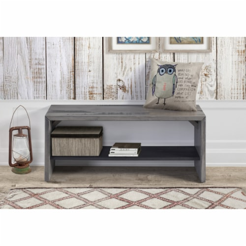 """42"""" Solid Rustic Reclaimed Wood Entry Bench - Grey Perspective: bottom"""
