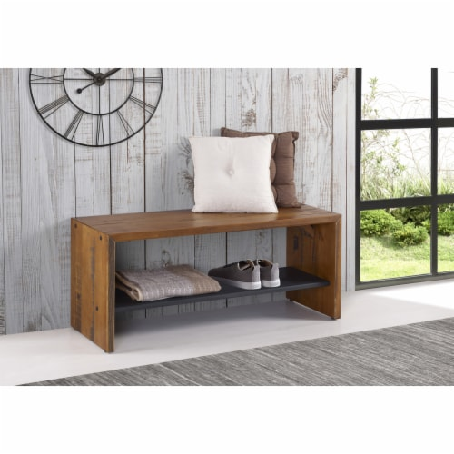 """42"""" Solid Rustic Reclaimed Wood Entry Bench - Amber Perspective: bottom"""
