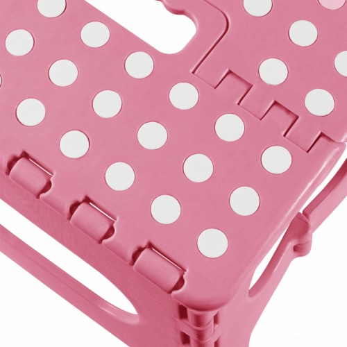 9  Folding Step Stool with Handle in Light Pink by Casafield Perspective: bottom