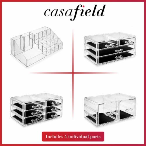 Acrylic Makeup Cosmetic Organizer & Jewelry Storage Set - Large Perspective: bottom