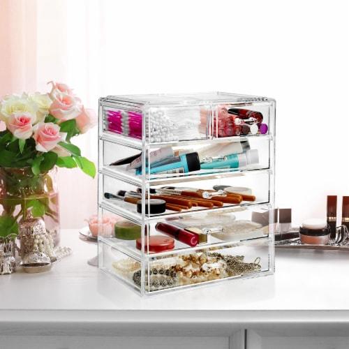 Acrylic Cosmetic Makeup Organizer Jewelry Box Storage Set - 6 Drawers Perspective: bottom