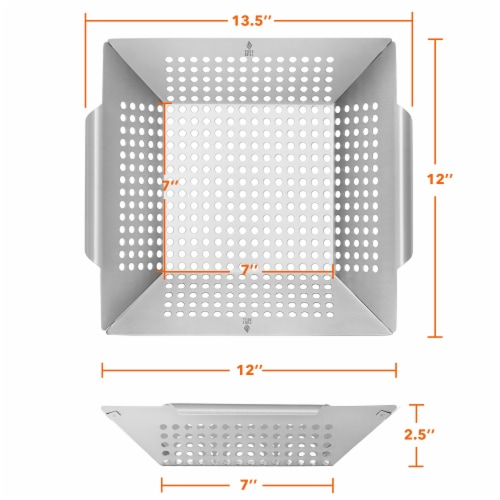 Vegetable Grilling Basket, Stainless Steel by Pure Grill Perspective: bottom