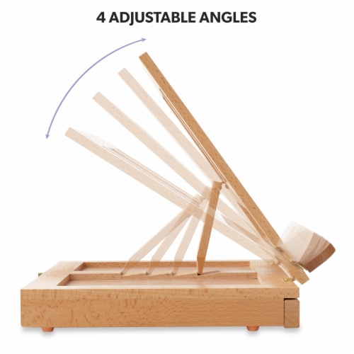 Beechwood Table Easel- Adjustable with Palette and Storage- 7 Elements Perspective: bottom