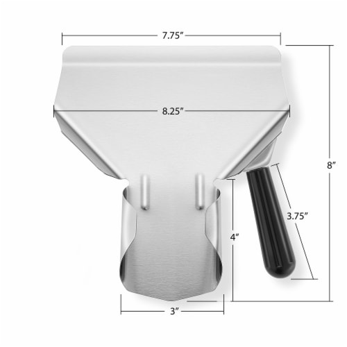 Commercial French Fry Scoop, Right - Stainless Steel Bagger & Scooper Perspective: bottom