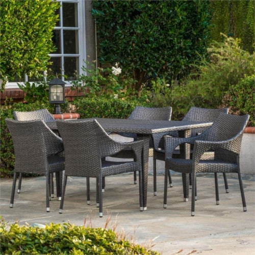 Noble House Cliff 7 Piece Outdoor Dining Set in Gray Perspective: bottom