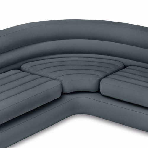 Intex Inflatable Indoor Corner Couch Sectional Sofa w/ Cupholders, Gray (4 Pack) Perspective: bottom