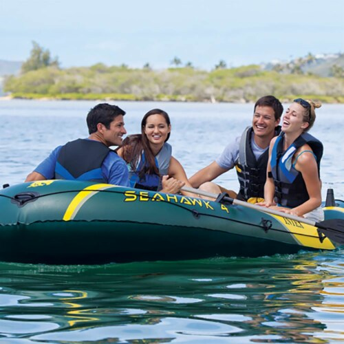 Intex Seahawk 4 Inflatable 4 Person Boat Raft Set with Oars & Air Pump (2 Pack) Perspective: bottom