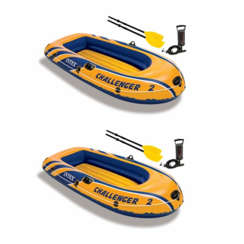 Intex Challenger 2 Inflatable 2 Person Boat Raft Set w/ Oars & Air Pump (2 Pack) Perspective: bottom