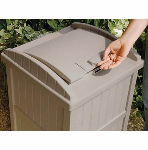 Suncast 30-33 Gallon Deck Patio Resin Garbage Trash Can Hideaway, Taupe (3 Pack) Perspective: bottom