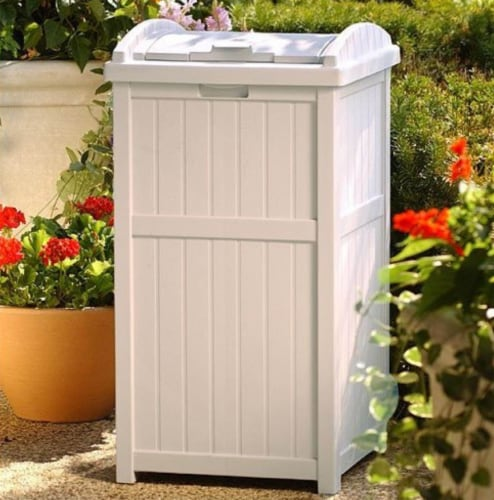 Suncast 30-33 Gallon Deck Patio Resin Garbage Trash Can Hideaway, Taupe (4 Pack) Perspective: bottom