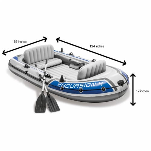 Intex Excursion Inflatable Rafting Fishing 4 Person Boat w/ Oars & Pump (3 Pack) Perspective: bottom