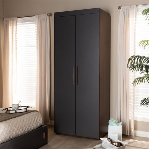 Baxton Studio Rikke 7-Shelf Wood Armoire in Gray and Walnut Brown Perspective: bottom