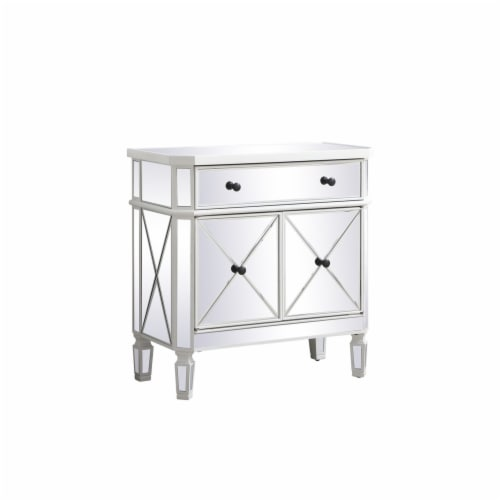 32 inch mirrored cabinet in antique white Perspective: bottom