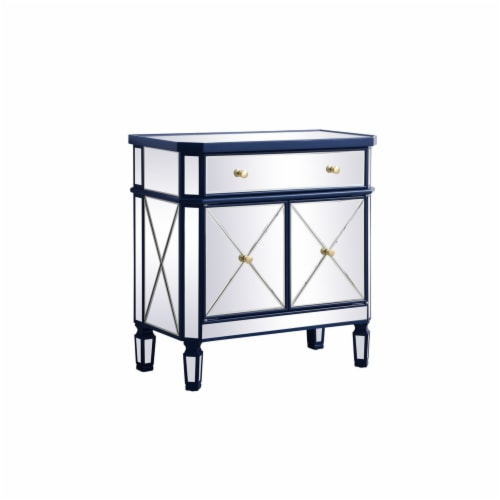 32 inch mirrored cabinet in blue Perspective: bottom