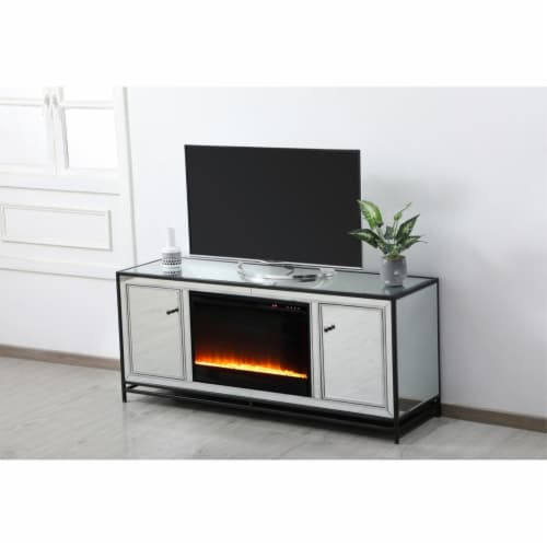James 60 in. mirrored tv stand with crystal fireplace in black Perspective: bottom