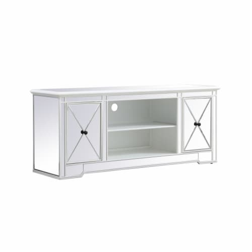 Modern 60 in. mirrored tv stand in antique white Perspective: bottom