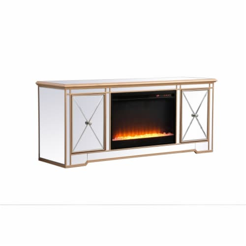 Modern 60 in. mirrored tv stand with crystal fireplace in antique gold Perspective: bottom