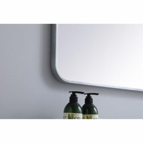 Soft corner metal rectangular mirror 24x32 inch in Silver Perspective: bottom