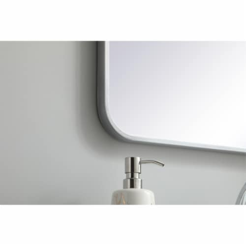 Soft corner metal rectangular mirror 20x36 inch in Silver Perspective: bottom
