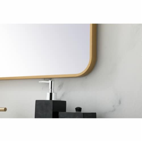 Soft corner metal rectangular mirror 30x36 inch in Brass Perspective: bottom