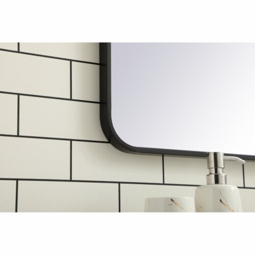 Soft corner metal rectangular mirror 30x40 inch in Black Perspective: bottom
